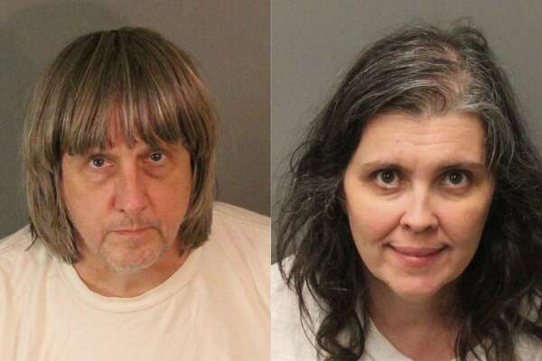 FILE - These undated photos provided by the Riverside County Sheriff's Department show David Allen Turpin, left, and Louise Anna Turpin. The couple have pleaded not guilty to multiple counts of torture, child abuse, dependent adult abuse and false imprisonment dating to 2010, when the family moved to California from outside Fort Worth, Texas. David Turpin also pleaded not guilty to performing a lewd act on a child under age 14. Since arresting David and Louise Turpin earlier this week, authorities said they have learned the children were confined to the house, chained to furniture, starved and often deprived the use of a toilet. Some of the children were so detached they didn't understand the concept of a police officer or medicine. (Riverside County Sheriff's Department via AP)