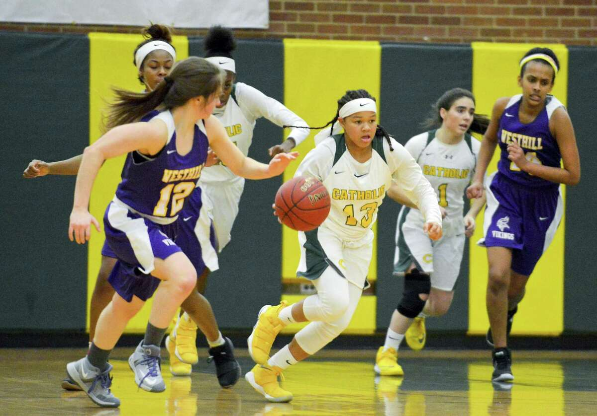 Trinity Catholic defeated Westhill 75-55 in a FCIAC girls basketball game at Trinity Catholic High School's Walsh Court in Stamford, Conn. on Friday, Jan. 19, 2018.