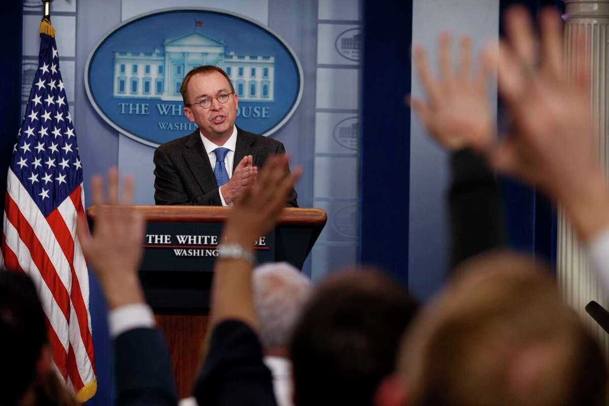 Director of the Office of Management and Budget Mick Mulvaney speaks during a briefing on a possible government shutdown at the White House, Friday, Jan. 19, 2018, in Washington. (AP Photo/Evan Vucci)