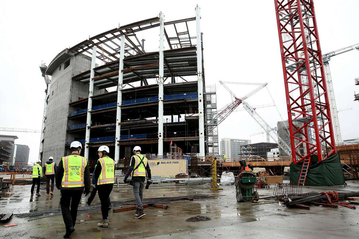 The Chase Center construction site, Thursday, Jan. 18, 2018, in San Francisco, Calif. The Chase Center will be the new home court of the Golden State Warriors. The center is expected to be completed in 2019.
