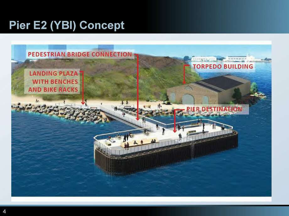 New $15 million fishing pier being planned for the base of the eastern span of the Bay Bridge off Yerba Buena Island. Photo: Matier & Ross, Metropolitan Transportation Commission