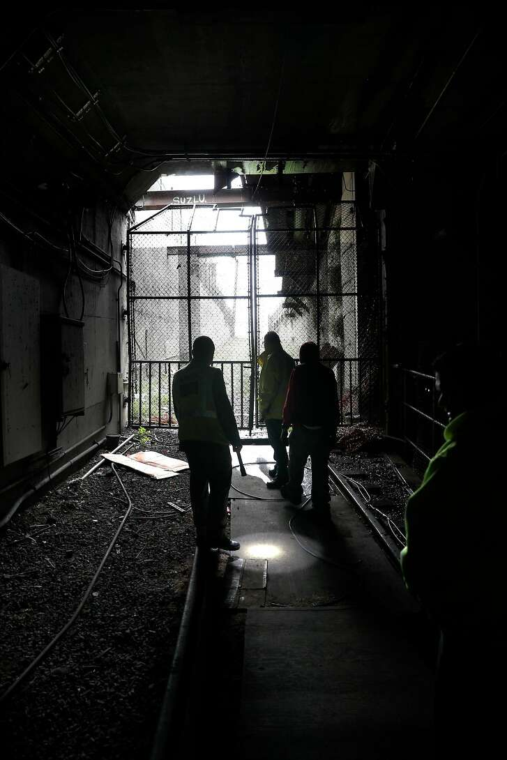 Locked gates at the former train entrance into the underground seen during a tour of the former San Francisco Muni Eureka rail station on Thursday, Jan. 18, 2018 in San Francisco, Calif.
