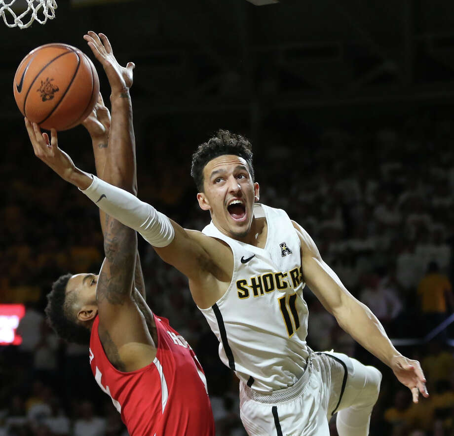 Wichita State's Landry Shamet takes a shot and is fouled against Houston during the second half at Koch Arena on Thursday, Jan. 4, 2018. The host Shockers won, 81-63. (Travis Heying/Wichita Eagle/TNS) Photo: Travis Heying, MBR / Wichita Eagle