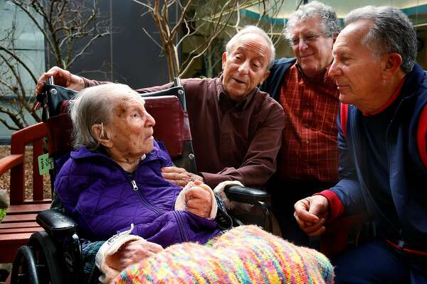 Doris Sperber, 109 is joined by three of her four sons, ( l to r ) Steve, 80, David, 74 and Fred, 74 at the Jewish Home of San Francisco, on Monday, Jan. 15, 2018 in San Francisco, Calif. Doris will turn 110-years-old in the next few days.