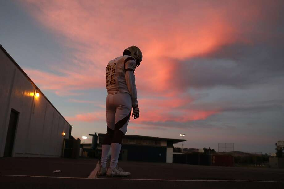 Cardinal Newman's Nikko Kitchen readies to play Rancho Cotate in the high school's first game since the Tubbs Fire. Photo: Scott Strazzante / The Chronicle 2017