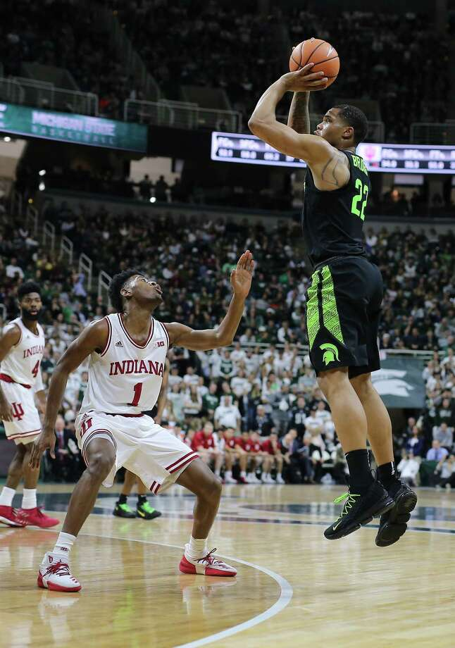 EAST LANSING, MI - JANUARY 19: Miles Bridges #22 of the Michigan State Spartans shoots the ball over Aljami Durham #1 of the Indiana Hoosiers at Breslin Center on January 19, 2018 in East Lansing, Michigan. (Photo by Rey Del Rio/Getty Images) Photo: Rey Del Rio / 2018 Getty Images