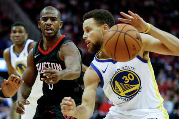 Rockets guard Chris Paul, left, will get more practice for the postseason tonight by matching up against Stephen Curry and his Warriors teammates.