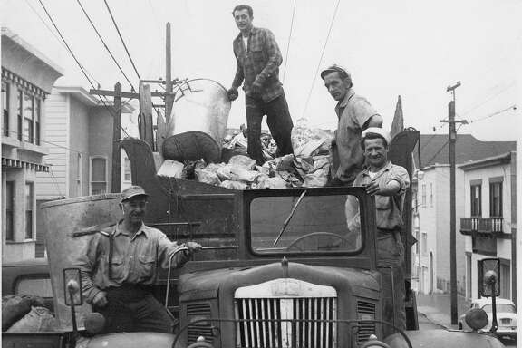 Attilio       Borghello   (left), Aldo Bachigalupi, Mario Stefanelli and Terso Biconi collect trash in 1962, when trucks had four-man crews.