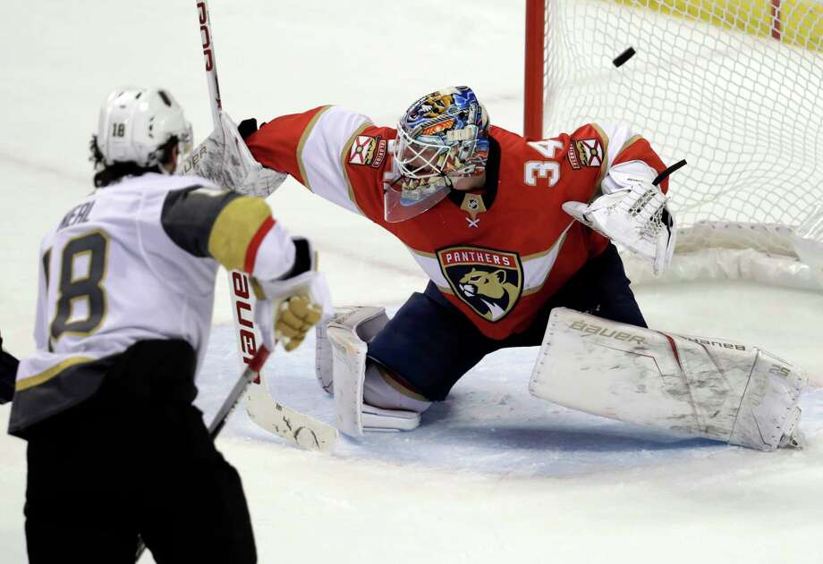 Vegas Golden Knights' James Neal (18) scores a goal past Florida Panthers goaltender James Reimer (34) during the third period of an NHL hockey game Friday, Jan. 19, 2018, in Sunrise, Fla. The Panthers won 4-3 in overtime. (AP Photo/Lynne Sladky) Photo: Lynne Sladky / Copyright 2018 The Associated Press. All rights reserved.