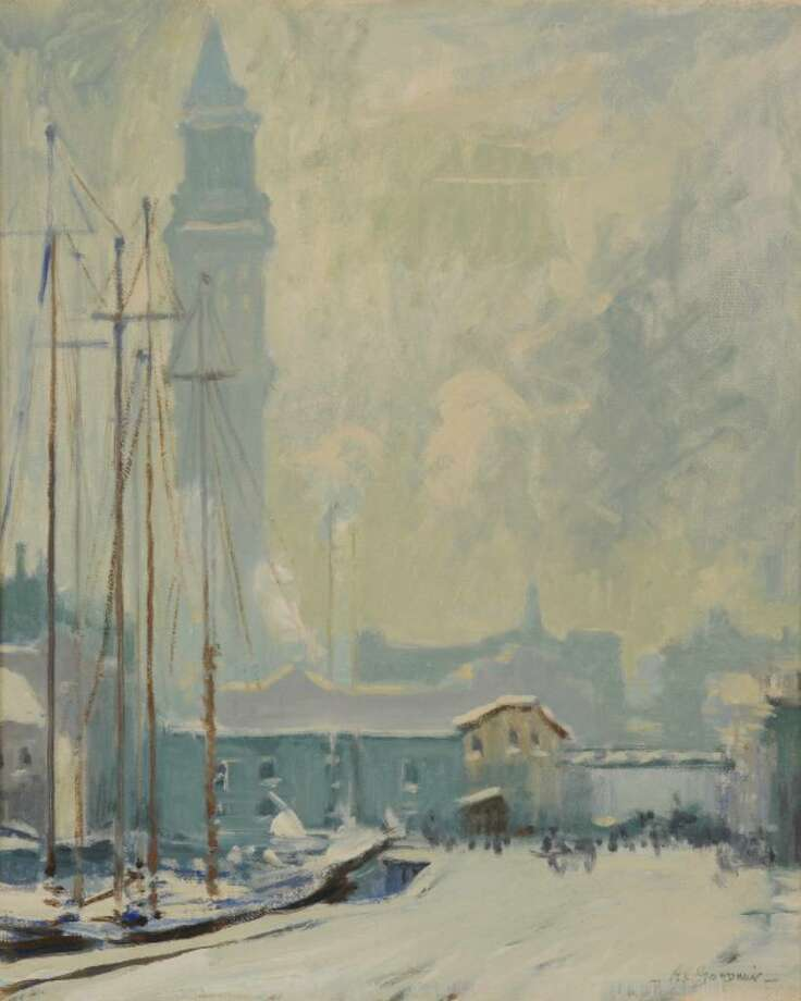 "Arthur Clifton Goodwin, American (1864-1929), ""The Wharf and Custom House Tower,"" ca. 1915, oil on canvas, 21 x 17 in., Promised Gift of Thomas Clark"