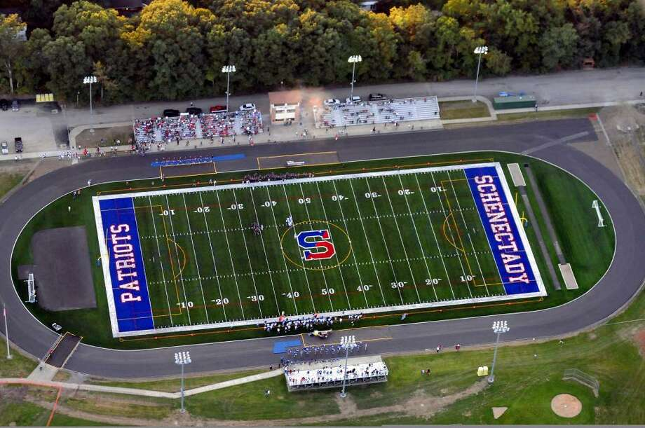 The Schenectady Patriots played the Albany Falcons on Schenectady's  new turf football field on Friday. (Cindy Schultz / Times Union) Photo: CINDY SCHULTZ
