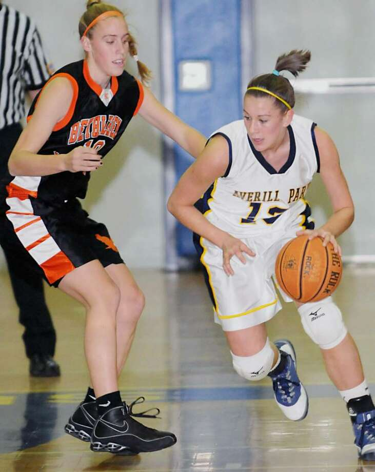 Katie Duma (13) pushes the ball upcourt for Averill Park against Bethlehem's Taylor Teal during a game last season. (James Goolsby/Times Union archive) Photo: JAMES GOOLSBY / 00001884A