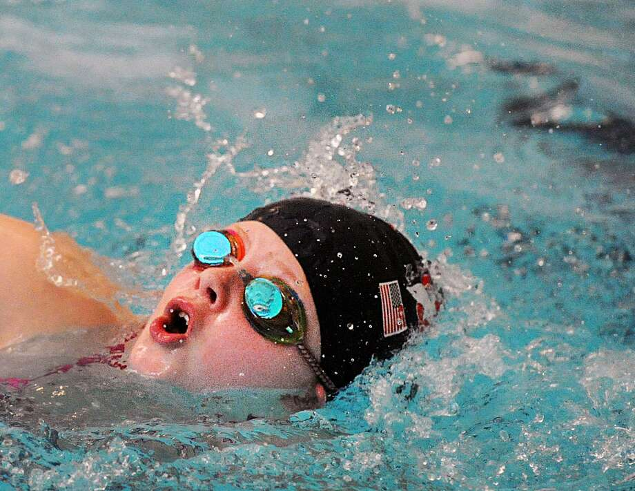 "Molly Bogardus of Riverside, a swimmer for the local Dolphins Swim team, participated in the Boys and Girls Club of Greenwich 13th annual Swim-A-Thon at the club in Greenwich, Conn., Saturday morning, Jan. 20, 2018. Bogardus said she was going to swim 50 laps for the fund-raiser. Jessica Rosa, the new Aquatics Coordinator for the club said ""we are hoping to reach the twenty thousand dollar mark and with the participation we are getting from the community today, I thnk we'll get there."" Money was raise by supporters of the club who swam laps for pledges. The funds raised go to support the club's many aquatics programs. Don Palmer, the director of programs at the club, who is marking his 25th year working there, swam an honorary 25 laps during the fund-raiser. Photo: Bob Luckey Jr. / Hearst Connecticut Media / Greenwich Time"