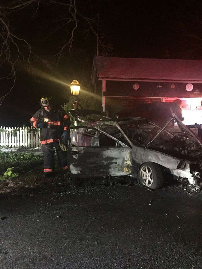 A car explosion near 167 Long Ridge Road in Danbury on Saturday, Jan. 20 sent two to the hospital with burn injuries, fire officials said. Photo: Danbury Fire Department