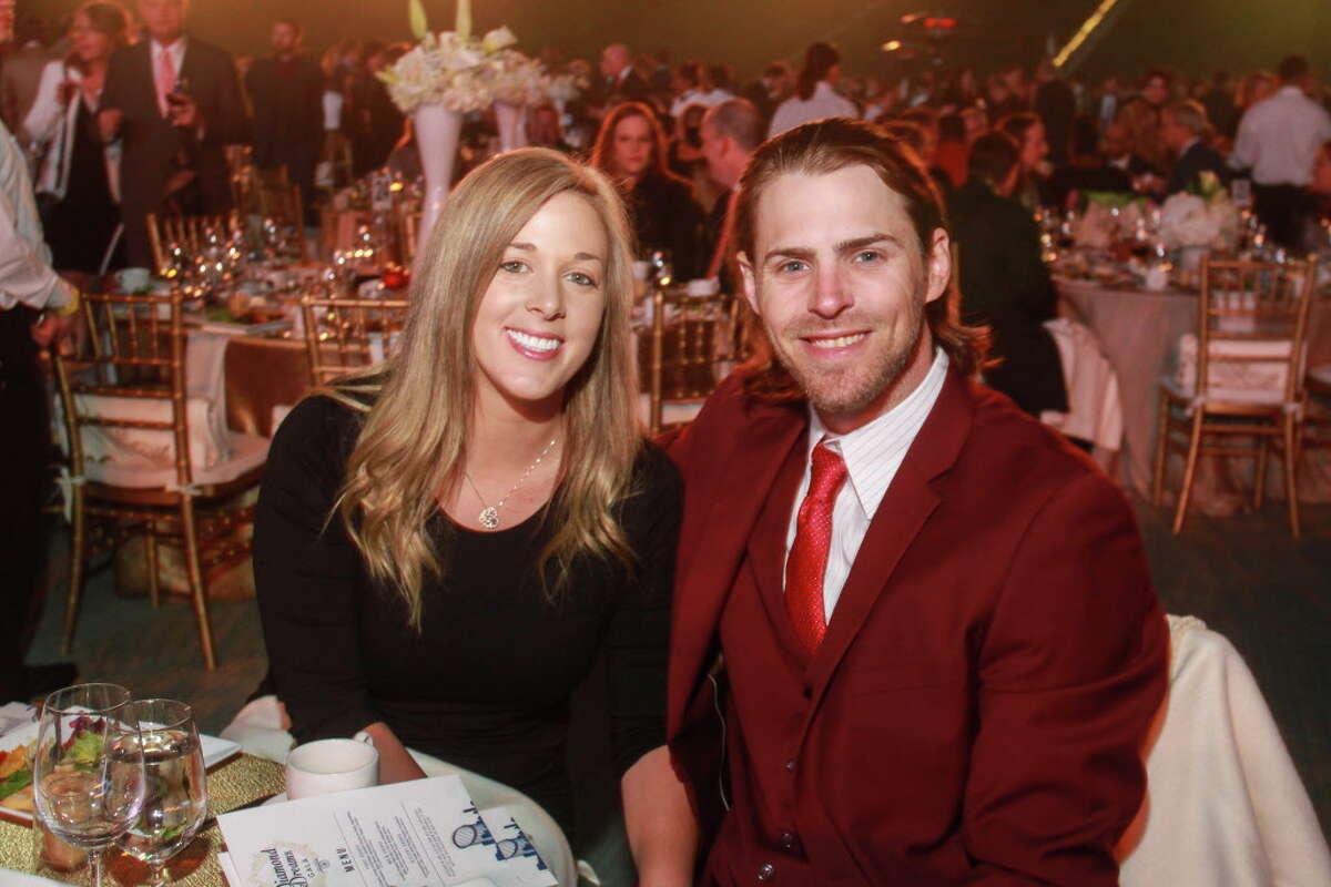Georgette Elkins and Astros' Josh Reddick at the Astros Foundation annual Diamond Dreams Gala.