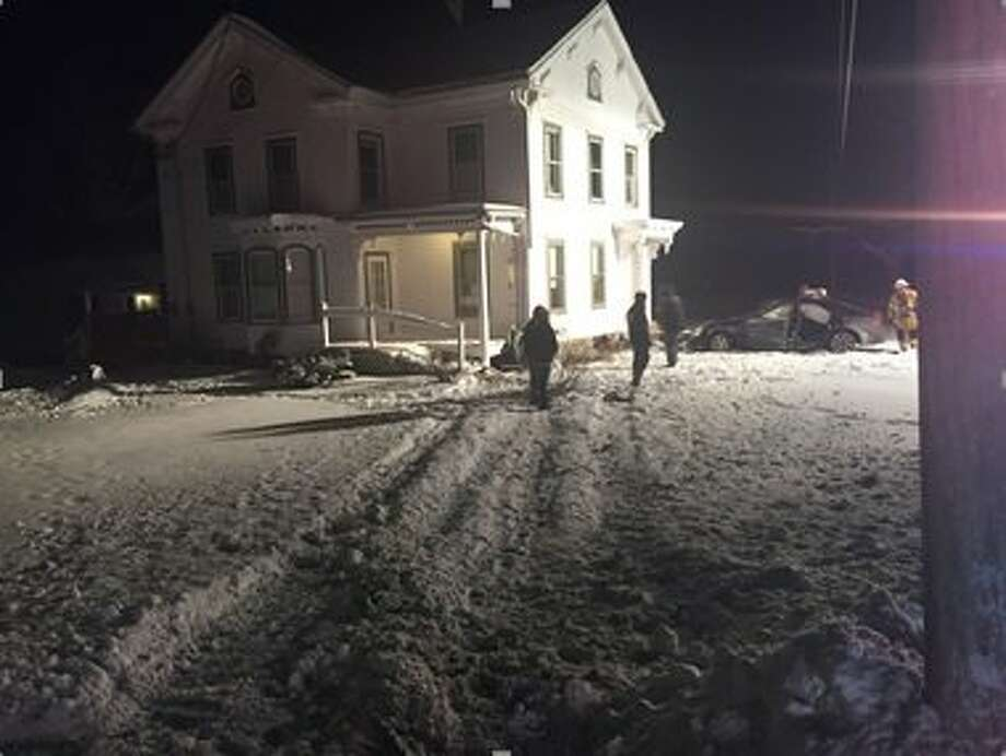 Erica Saunders' car hit the corner of a house in the town of Knox after she lost control while driving on Jan. 19, 2018, police said. Photo: Courtesy Of Albany Police