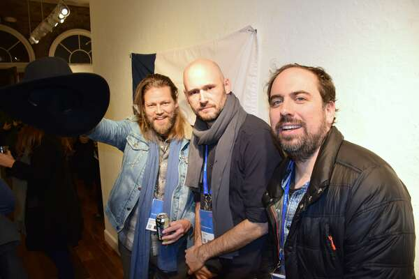 Geoff Marslett, Producer Chris Ohlson and Don Swaynos during the Texas Film Commission's gathering at the Sundance Film Festival.