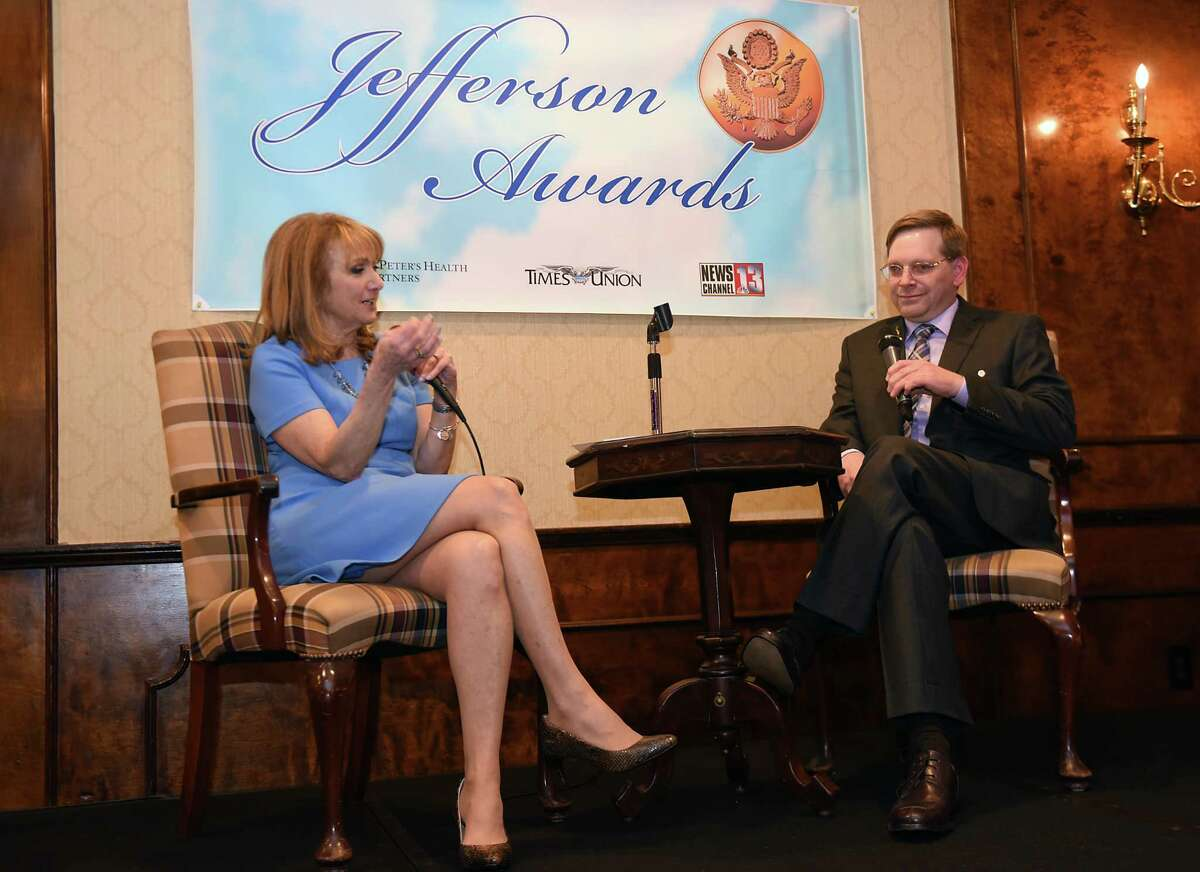 Benita Zahn, Newschannel 13, interviews Jefferson Award medalist Patrick Kelsey during a dinner and program to honor the Jefferson medalists and finalists at the Century House on Tuesday, April 4, 2017 in Latham, N.Y. (Lori Van Buren / Times Union)