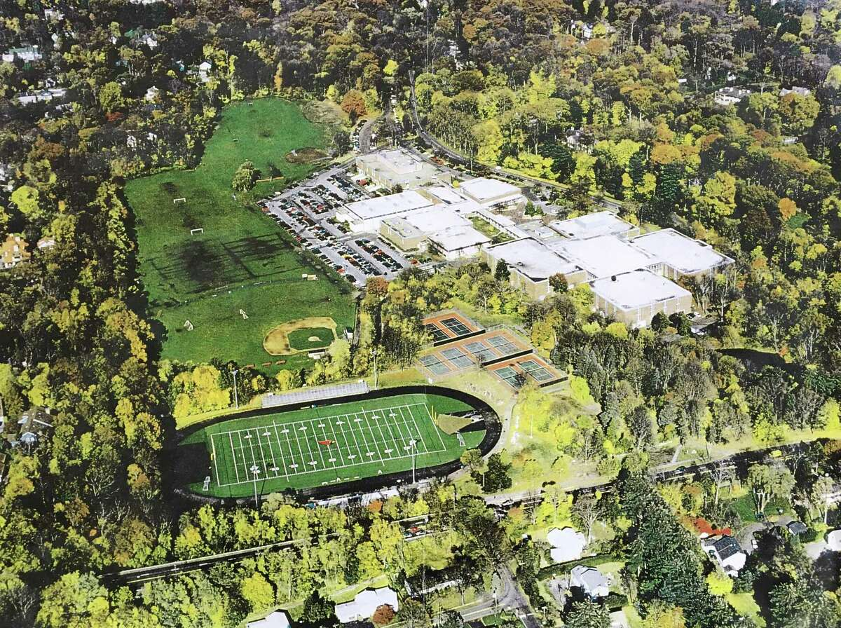 An aerial photograph of the Greenwich High School grounds in 2005 shows the stadium lights, which were installed in 2003.