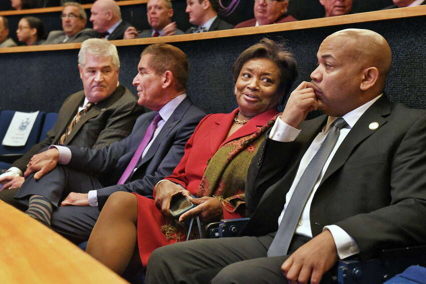 Attending Gov. Andrew Cuomo proposed 2018-19 state budget plan are, from left; Assembly Minority Leader Brian M. Kolb, Senate IDC Leader Jeff Klein, Senate Democratic Leader Andrea Stewart-Cousins and Assembly Speaker Carl Heastie at the State Museum on Tuesday, Jan. 16, 2018, in Albany, N.Y. (John Carl D'Annibale/Times Union)
