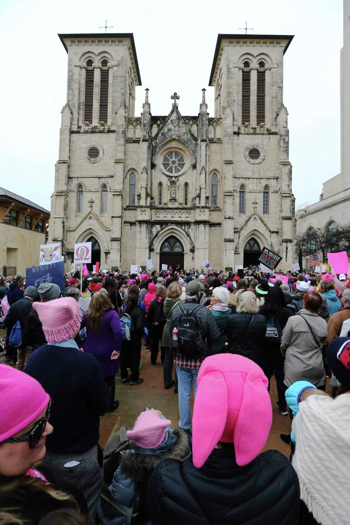"""About 500 people according to organizers gathered at Main Plaza to take part in the second annual Women's Rally on Saturday, Jan. 20, 2018. The message of the event hosted by TX23 Indivisible, was clear and decisive as speaker after speaker implored those in attendance that women's voices were not be silenced and to vote in upcoming elections. """"When women vote, we win,"""" said Cassandra Littlejohn, Bexar County Democratic Party Political Director. Toward the end of the two-hour rally, a brief march around Main Plaza came together as the event concluded."""