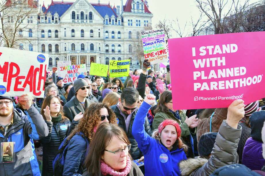 A year after the Women's March, local groups hold another rally at the Capitol to continue their protest Saturday Jan. 20, 2018 in Albany, NY.  (John Carl D'Annibale/Times Union) Photo: John Carl D'Annibale, Albany Times Union / 20042647A