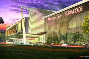 An artist's rendering of a proposed Foxwoods and Mohegan Sun casino to be built in East Windsor.
