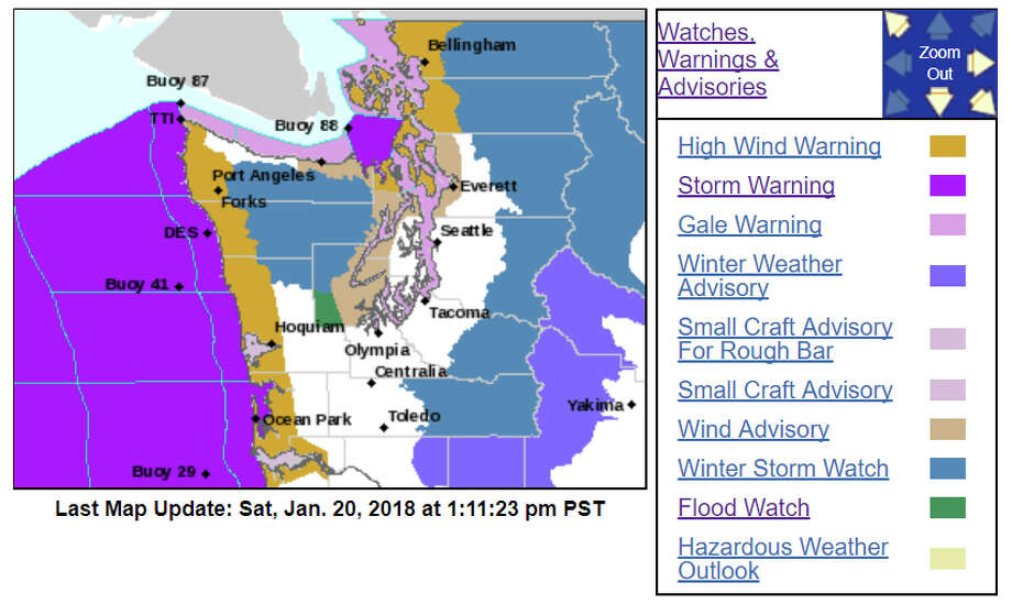The National Weather Service predicted Saturday, Jan. 20, 2018, that a strong storm would blow through Western Washington. Photo: Weather Service