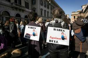 Women demonstrate against sexual harassment, violence and U.S. President Donald Trump in solidarity with American women during the Women's March along with the #MeToo movement on January 20, 2018 in Rome, Italy.