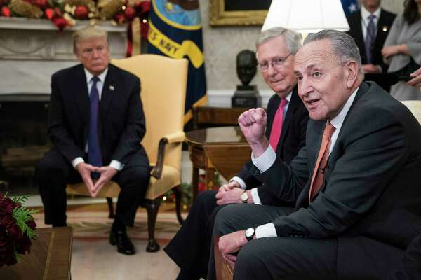 Both Senate Majority Leader Mitch McConnell, R-Ky., center, and Senate Minority Leader Charles Schumer, D-N.Y., right, have expressed frustration in recent weeks regarding negotiations with President Donald Trump.