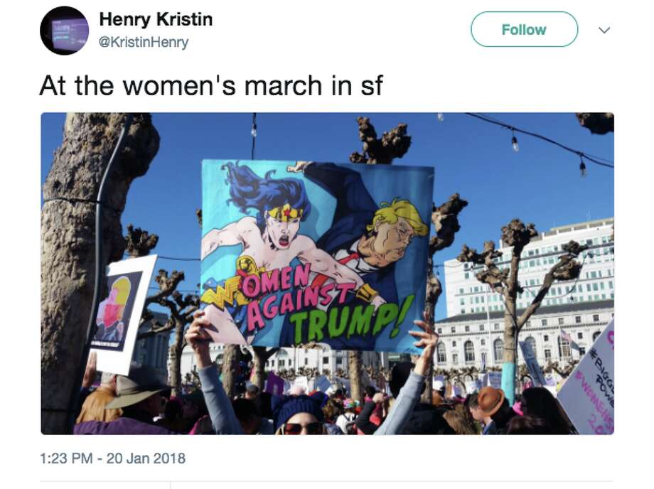 The most striking signs from the Women's March demonstrations in the Bay Area on January 20, 2018. Photo: Twitter