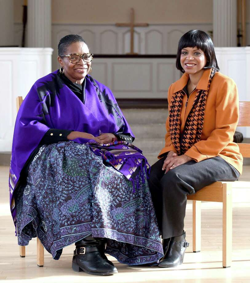 Pastor Janice Hart, left, of Powerhouse Temple Ministries and the Rev. Debora Jackson, director of lifelong learning at Yale Divinity School, are photographed in Marquand Chapel in New Haven. Photo: Arnold Gold / Hearst Connecticut Media / New Haven Register