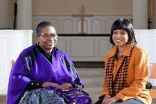 Pastor Janice Hart, left, of Powerhouse Temple Ministries and the Rev. Debora Jackson, director of lifelong learning at Yale Divinity School, are photographed in Marquand Chapel in New Haven.