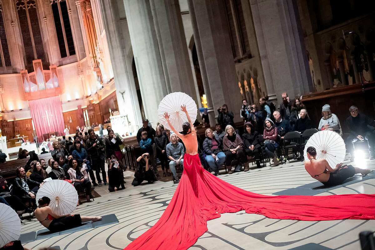 A dancer from the Lily Cai Chinese Dance Company performs during the San Francisco Music Arts Festival at Grace Cathedral on Friday, Jan. 19, 2018, in San Francisco.