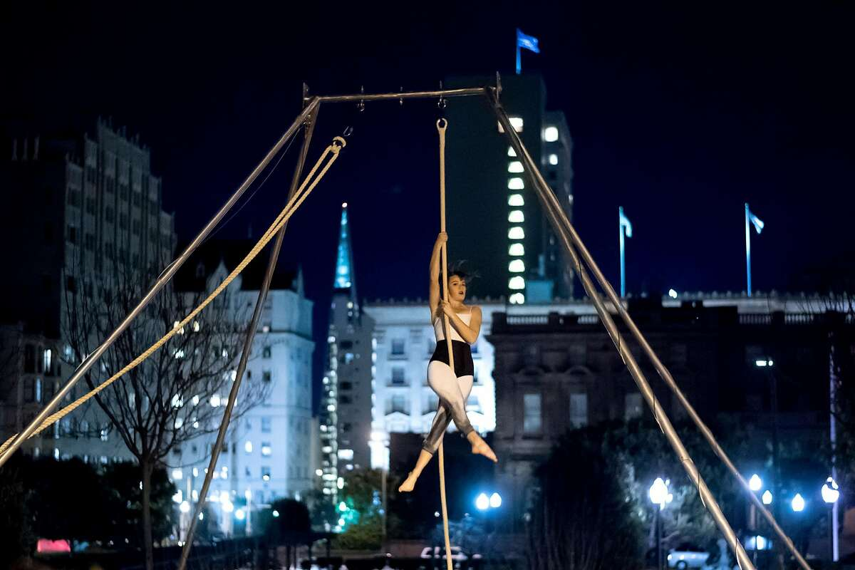 An aerial performer from the Santa Barbara Aerial Dance Company dances during the San Francisco Music Arts Festival at Grace Cathedral on Friday, Jan. 19, 2018, in San Francisco.