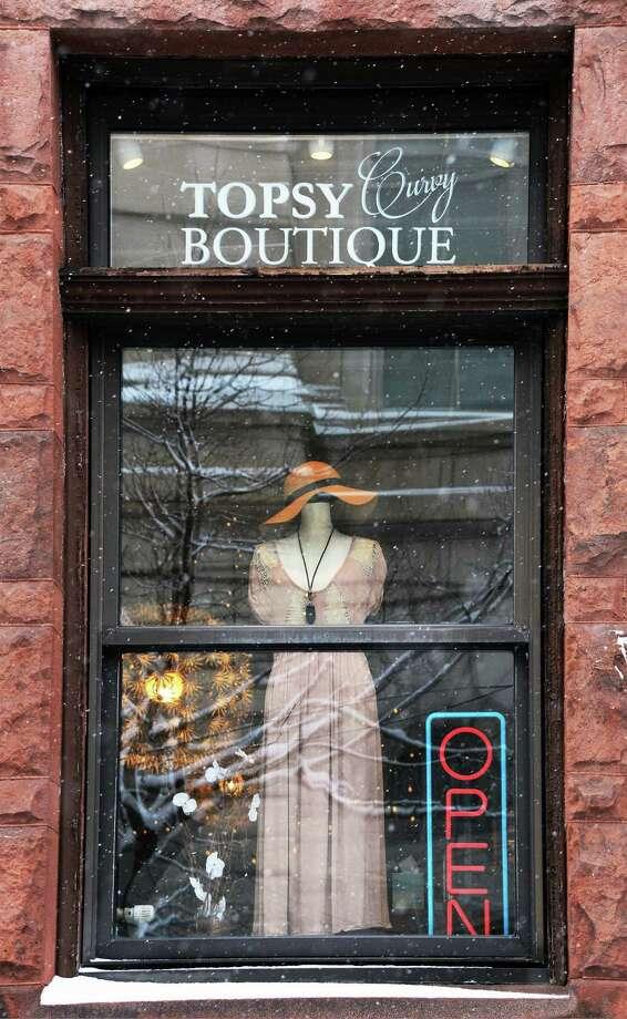 Window treatment at Amanda Medina's Topsy Curvy boutique Wednesday Jan. 17, 2018 in Troy, NY.  (John Carl D'Annibale/Times Union) Photo: John Carl D'Annibale / 20042683A