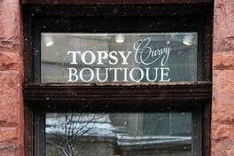 Window treatment at Amanda Medina's Topsy Curvy boutique Wednesday Jan. 17, 2018 in Troy, NY.  (John Carl D'Annibale/Times Union)