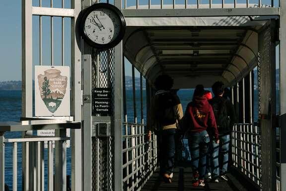 People board the Alcatraz Cruise for Alcatraz Island in San Francisco, Calif. Saturday, Jan. 20, 2018. Despite government shutdown, Alcatraz Island remained open.
