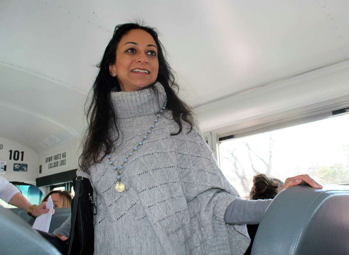 Connecticut gubernatorial candidate Dita Bhargava, a Greenwich resident, rode the bus to Hartford for the women's march Saturday with a grup of activists primarily from the Fairfield and Westport area.