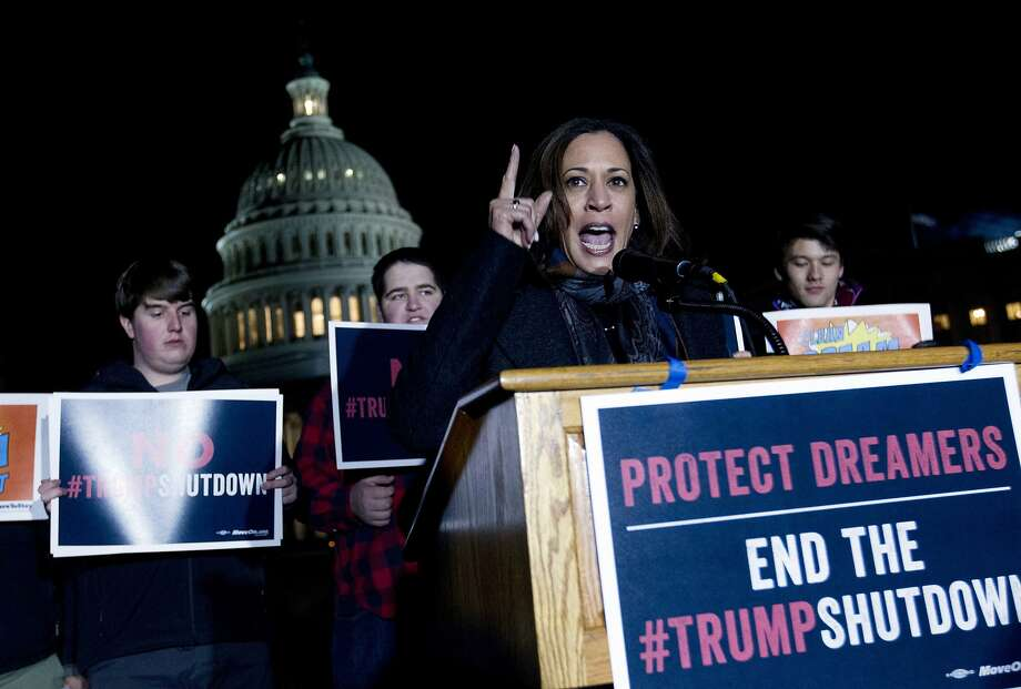 """Sen. Kamala Harris, D-Calif., rallies in support of the """"Dreamers"""" during a protest on Capitol Hill. Photo: Jose Luis Magana, Associated Press"""