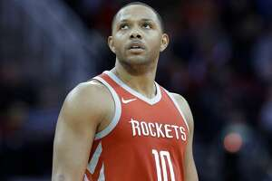 Houston Rockets guard Eric Gordon (10) checks the scoreboard after scoring during the second half of an NBA basketball game against the Minnesota Timberwolves Thursday, Jan. 18, 2018, in Houston. (AP Photo/Michael Wyke)