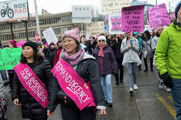 Seattle's Women's March 2.0 crosses over the interstate on Saturday, Jan. 20, 2018.