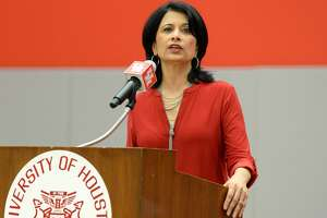 University of Houston President Renu Khator speaks during the Guy V. Lewis Development Facility Dedication, April 3 at the University of Houston.
