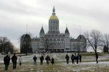 Marchers flocked to the capitol on Saturday, Jan. 20, for the Women's March Connecticut in Hartford.
