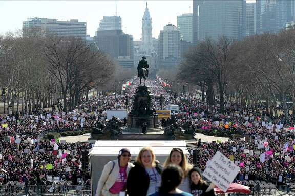 Thousands gather during the Women's March in Philadelphia on Saturday, Jan.  20, 2018. The march is among dozens of rallies being held around the country. The activists are hoping to create an enduring political movement that will elect more women to government office. (David Maialetti /The Philadelphia Inquirer via AP)