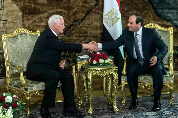 Vice President Mike Pence, left, spent 2 1/2 hours with Egyptian President Abdel-Fattah el-Sissi, who was concerned with the U.S. stance on Israel's capital.