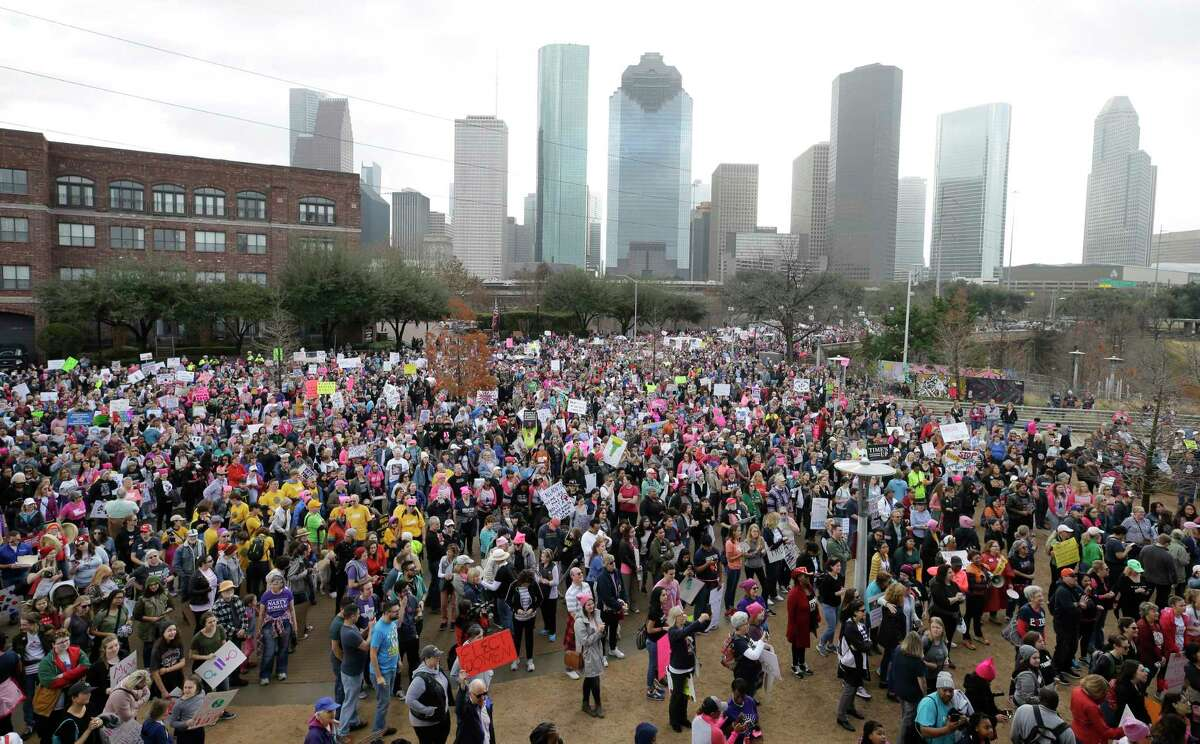 Roughly 20,000 people participated in the 2018 Houston women's march.