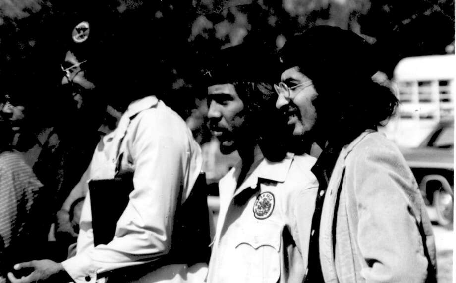 """Members of the Brown Berets served as security guards during the Chicano Movement. Photo: Courtesy, Ramon Vasquez Y Sanchez """"one-time Only Use / Ramon Vasquez Y Sanchez """"one-time Only Use / Ramon Vasquez y Sanchez """"one-time only use"""