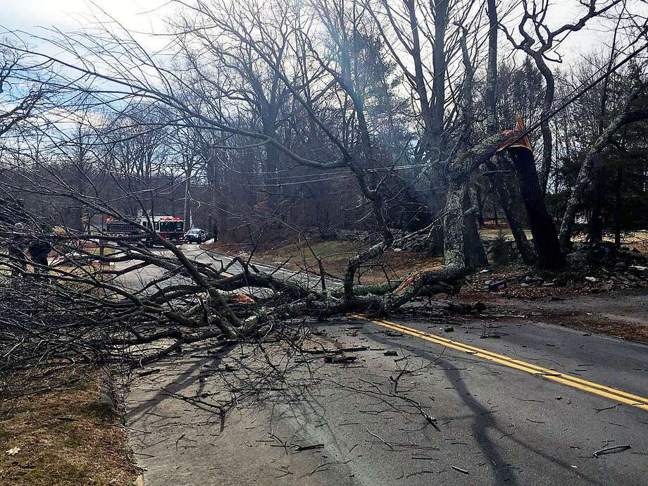 Around 1:30 p.m., Milford Police completely shut down Wheelers Farm Road between Lavery and Honeycomb lane in Milford, Conn., on Jan. 20, 2018. The road was reopened around 4:30 p.m. Photo: Contributed Photo / Milford Police Department / Contributed Photo / Connecticut Post Contributed