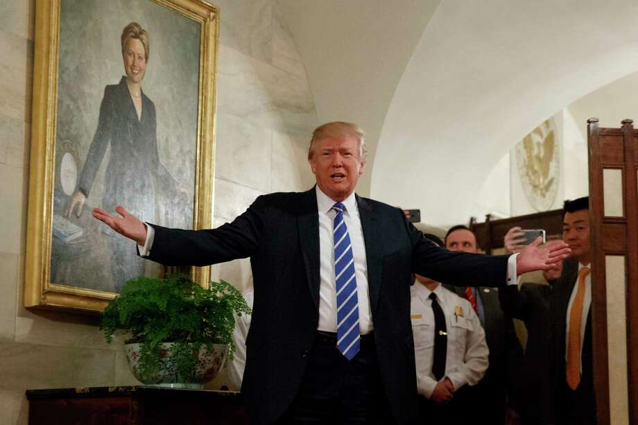 President Donald Trump greets visitors touring the White House in Washington, Tuesday, March 7, 2017. (AP Photo/Evan Vucci, File) Photo: Evan Vucci / Copyright 2018 The Associated Press. All rights reserved.